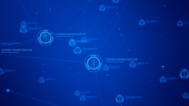 Bitcoin currency sign in digital cyberspace, network for world money