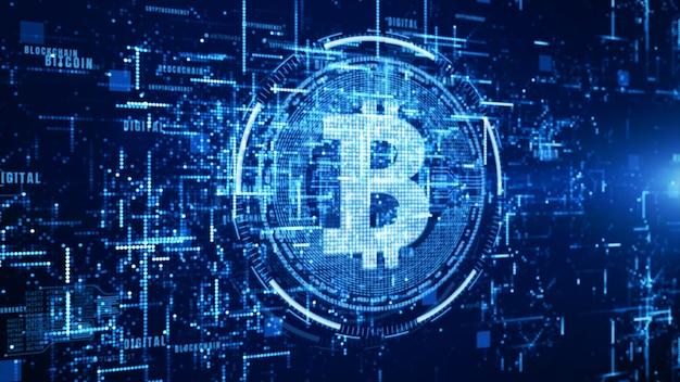 Знак валюты биткойн в цифровом киберпространстве, сеть за мировые деньги