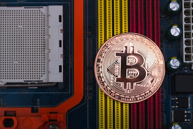 Bitcoin digital currency on motherboard