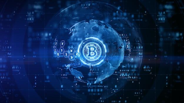 파란색 배경으로 bitcoin 디지털 디자인