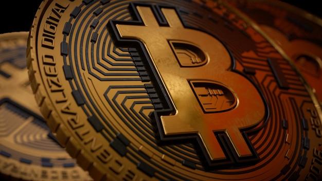 Золотая монета биткойн 3d-рендеринга