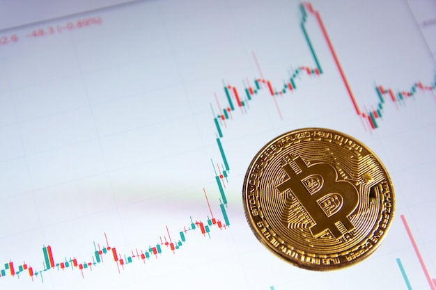 Bitcoin gold coin and candlestick chart