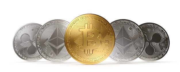 Bitcoin gold coin, cryptocurrency on a white background. 3d rendering illustration.