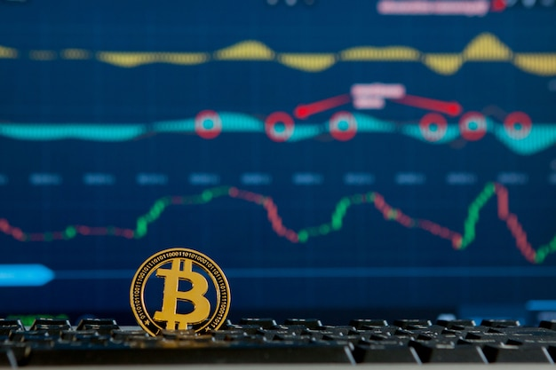 Bitcoin gold coin and defocused chart
