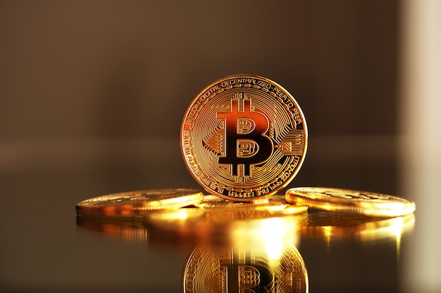 Bitcoin gold coins. cryptocurrency concept.