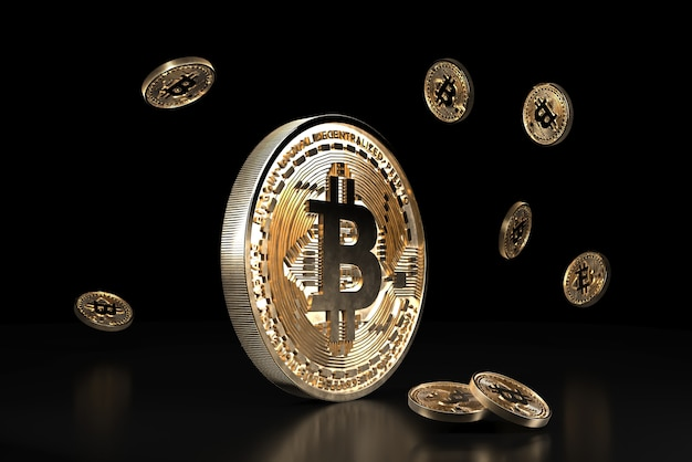 Bitcoin golden coin, digital currency. 3d cryptocurrency.