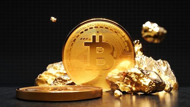 Золотая монета bitcoin с куском золота