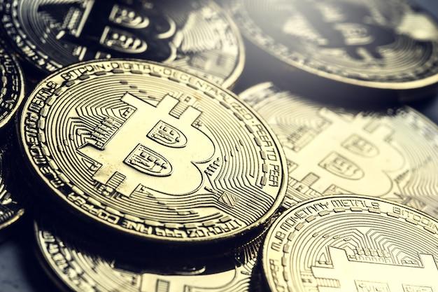 Bitcoin. golden and silver bitcoins - virtual cryptocurrency.