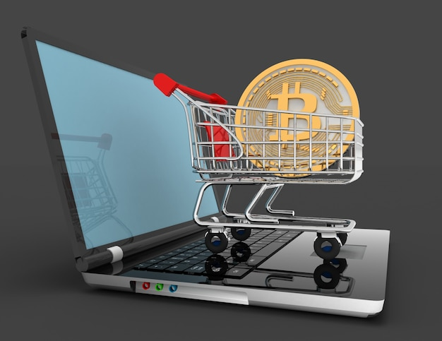 Биткойн в тележке на ноутбуке. 3d визуализация illustrartion