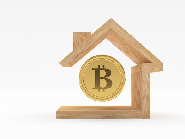 Биткойн в значок деревянный дом я Premium Фотографии