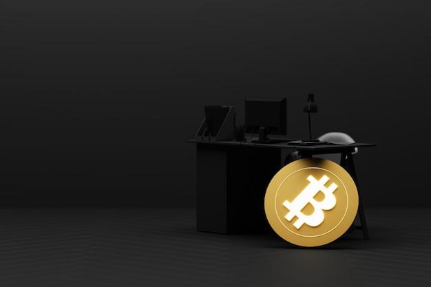 今日のビットコインは金や通貨よりも価値が高くなっていますビットコインは今日の金や通貨よりも価値が高くなっています黄色の3dレンダリングのコンセプト