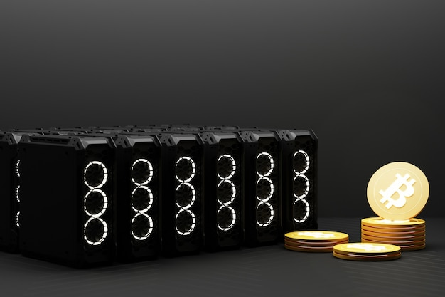 今日、ビットコインは金や通貨よりも価値が高くなっています。マイニングでコンピューター機器を使用することにより、黄色のファイナンスコンセプトが実現します。 3dレンダリング