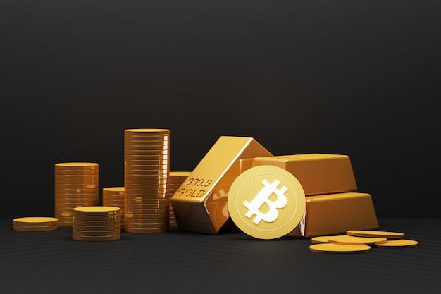ビットコインは今日、金や通貨よりも価値が高くなっています。金融の概念は黒色です。 3dレンダリング