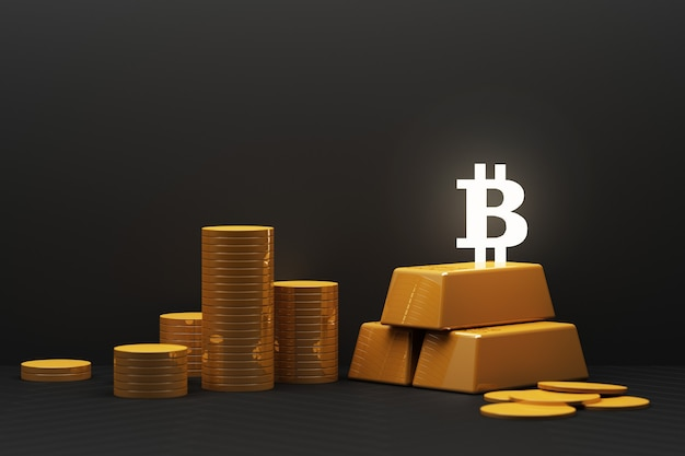 Bitcoin is becoming more valuable than gold and currency today, finance concept in black color. 3d rendering