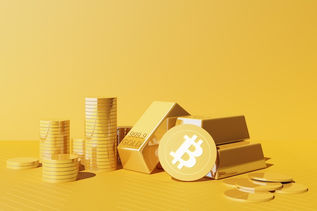 Bitcoin is becoming more valuable than gold and currency today, finance concept in yellow color. 3d rendering
