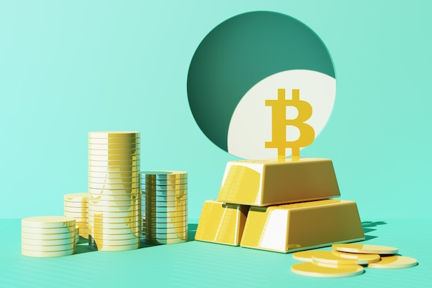 Bitcoin is becoming more valuable than gold and currency today, finance concept in yellow and green color. 3d rendering