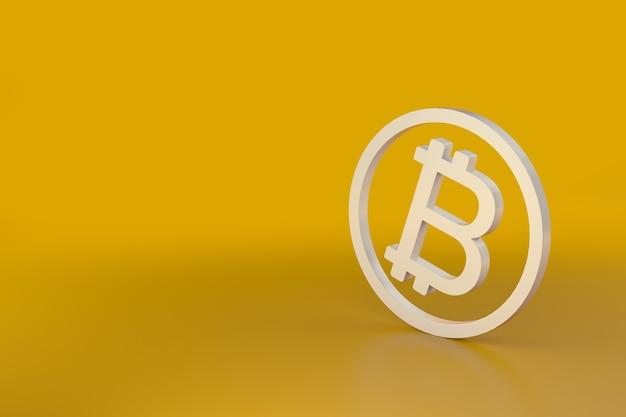オレンジ色の背景に分離されたビットコイン。 3dイラスト