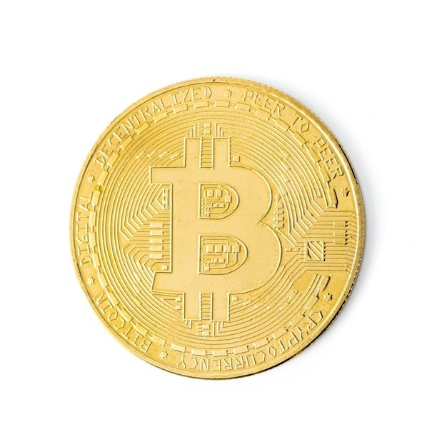 그림자 클로즈업으로 격리된 bitcoin