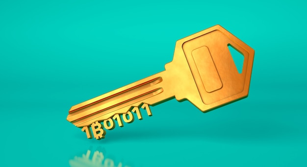 Bitcoin key. golden key from cryptocurrency on a green background. 3d render.