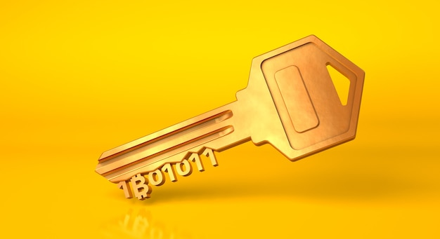Bitcoin key. golden key from cryptocurrency on a yellow background. 3d render.
