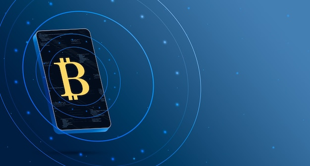 기술 디스플레이, cryptocurrency 3d 렌더링 전화에 bitcoin 로고 아이콘