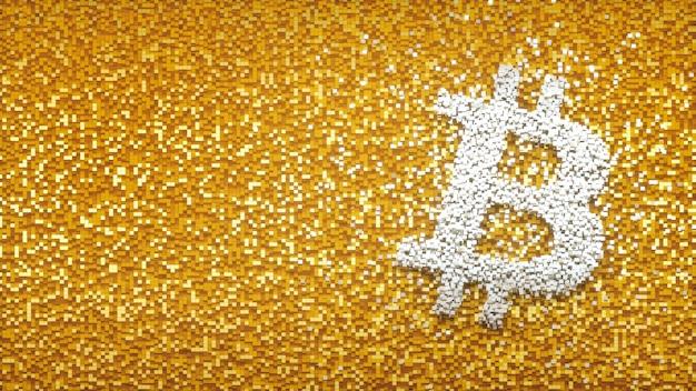 Abtract 배경 큐브 픽셀 개념 3d 그림에 bitcoin 로고