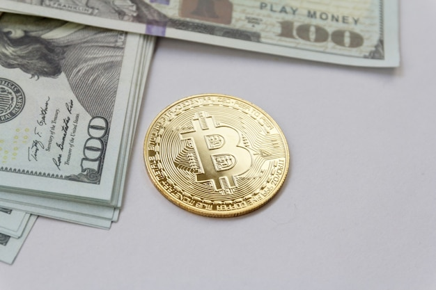 Bitcoin and mock up cash. cryptocurrency digital money concept