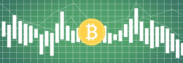 Bitcoin on multicolored metrics and charts on multicolored backgrounds and world map
