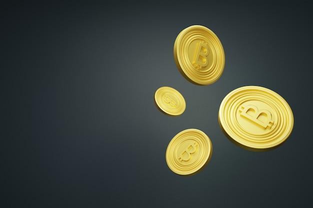 黒の背景にビットコイン。