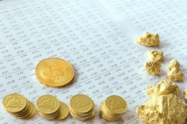 Биткойн на фоне цифровой фондового рынка финансовых. Premium Фотографии