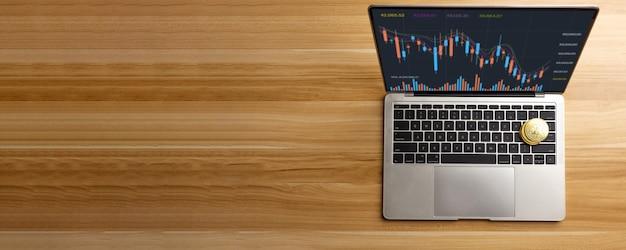 Биткойн на ноутбуке на столе дома, прибыль от криптовалюты и доход от инвестирования в акции для обмена криптовалюты и оплаты для покупки на рынке финансовых технологий инвестор в концепции электронной коммерции
