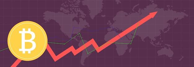 Биткойн на разноцветных метриках и графиках на разноцветном фоне и карте мира