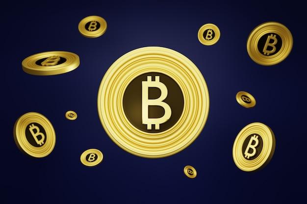 紫色の背景にビットコイン。