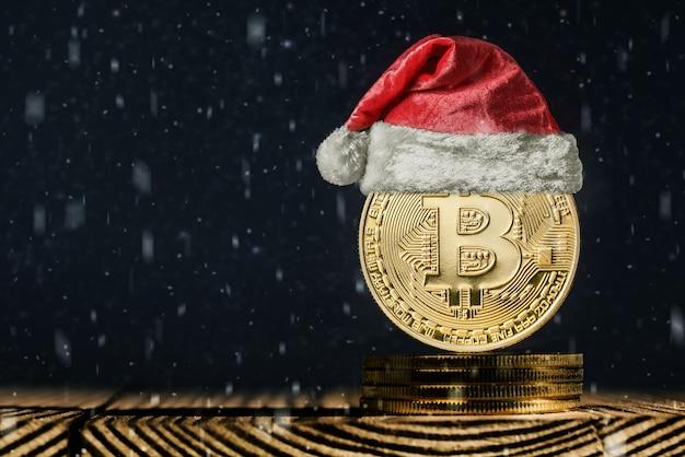 クリスマスの背景にビットコイン