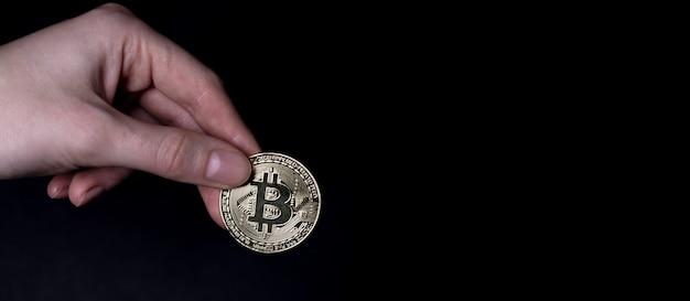 暗号通貨の兆候があるビットコインまたはbtcゴールデンコイン。