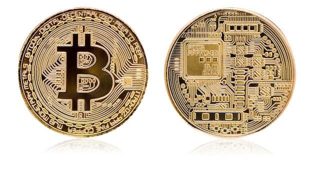 Bitcoin. physical bit coin. digital currency. cryptocurrency. golden coin with bitcoin symbol isolated