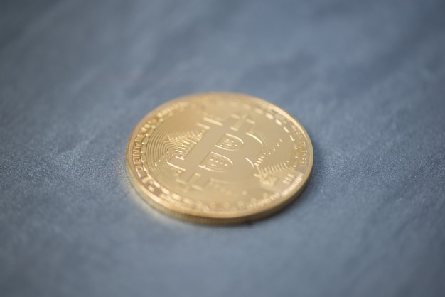 Bitcoin plastered surface, blurry sharpness. electronic money