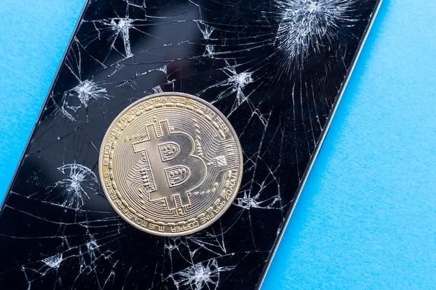 Bitcoin reduction concept. symbol of crisis in blockchain currency.