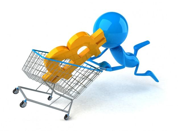 Bitcoin shopping - 3d illustration