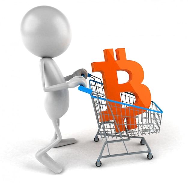Покупки биткойн - 3d иллюстрация