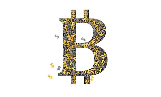 Знак биткойна, заполненный золотыми и черными знаками доллара