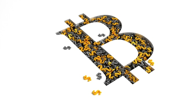 Bitcoin sign filled with gold and black dollar signs