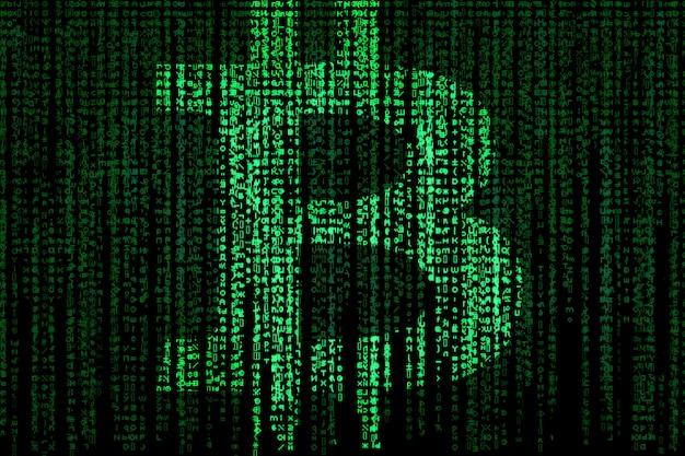 Биткойн-знак на зеленой матрице