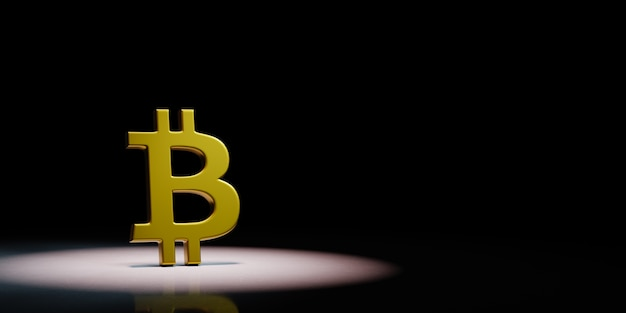 Bitcoin sign shape in the spotlight isolated