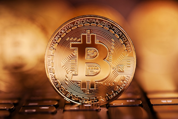 Bitcoin stands beautifully on the keys