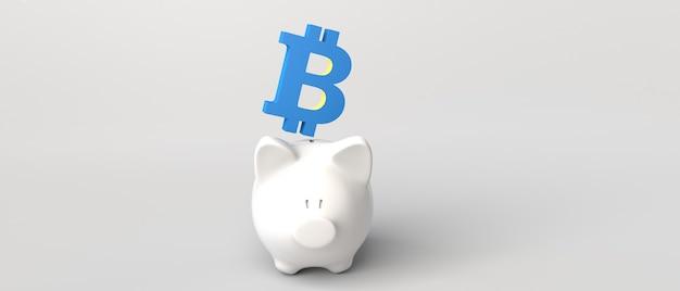 돼지 저금통에 들어가는 bitcoin 기호. 돈 절약. 3d 그림입니다.