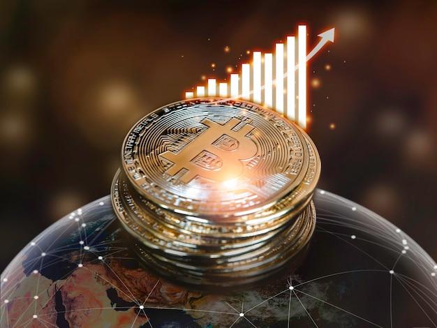 Фон технологии биткойнов. золотой биткойн с диаграммой успеха и стрелкой вверх при передаче по глобальной сети. концепция инвестиций в криптовалюту. цифровая будущая монета валюты финансовый фон.