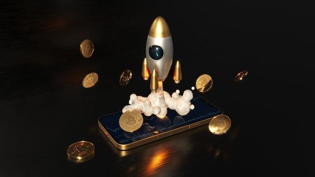 Биткойн торгует по телефону, мобильному телефону и ракете