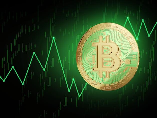 Bitcoin up trend value 3d rendering concept Premium Photo