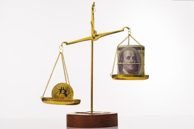 Тенденция увеличения стоимости биткойнов. монета перевешивает баланс